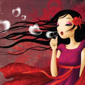 girl-with-long-hair-blowing-heart-shaped-bubbles-pink-red-feminine-woman-fine-art-oil-painting-beautiful